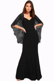 Černé krajkové společenské dlouhé šaty