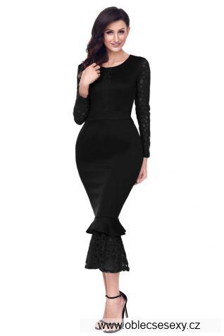 Černé krajkové středně dlouhé šaty