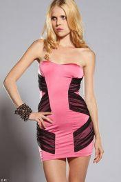 Krátké černo růžové šaty