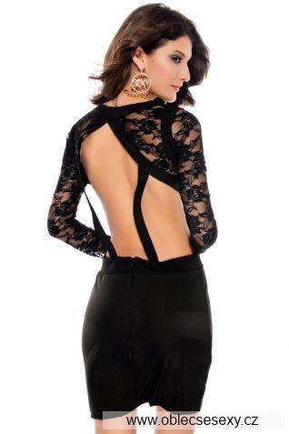 Černé krátké mini šaty s krajkou