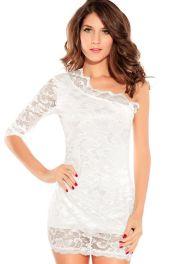Elegantní bílé krajkové šaty s jedním rukávem