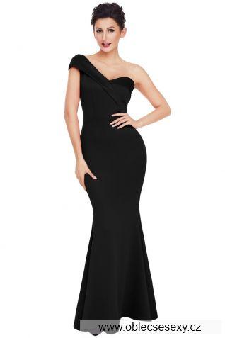 Dlouhé černé šaty s jedním ramínkem