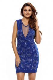 Krátké modré šaty bet rukávů a s výstřihem