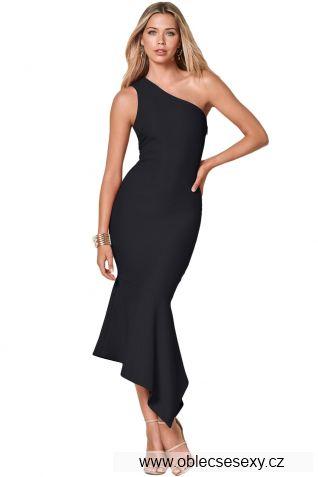 Černé párty šaty s jedním ramínkem