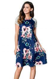 Letní modré květované šaty