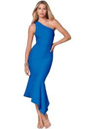 Modré párty šaty s jedním ramínkem