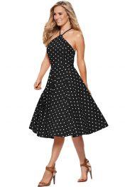 Retro šaty černobílé s puntíky