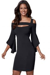 Černé přiléhavé šaty s volnými rukávy
