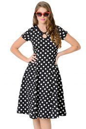 Retro černobílé puntikaté šaty