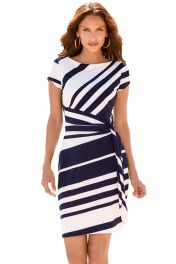 Modro bílé midi šaty