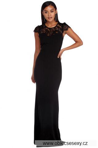 Černé dlouhé krajkové společenské šaty