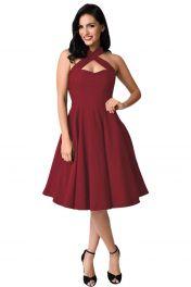 Červené šaty za krk