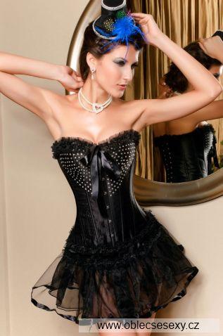 Černý elegantní korzet se sukýnkou