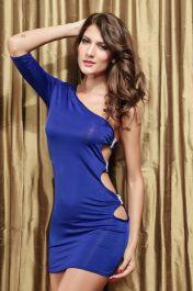 Modré gogo šaty s jedním ramínkem