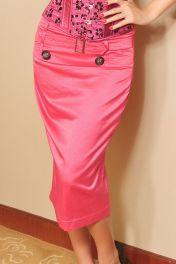 Růžová dlouhá sukně ke korzetu