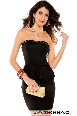 Černé samodržící koktejlové šaty