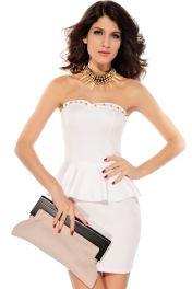Bílé samodržící koktejlové šaty