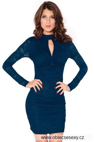 Modré krátké společenské šaty