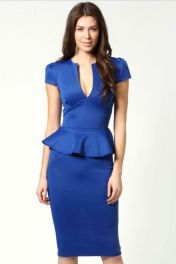 Modré peplum šaty Sandra