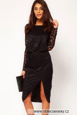 Černé krajkové midi šaty