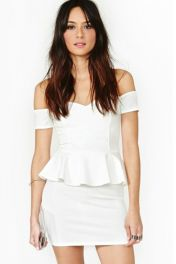 Peplum bílé šaty Nancy