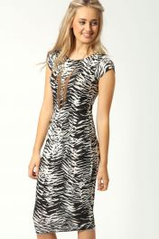Midi přiléhavé šaty se zebra vzorem