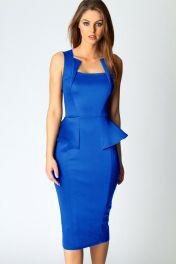 Modré midi šaty bez rukávů Rozaria