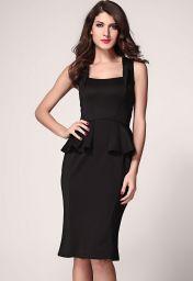 Černé midi šaty bez rukávů Rozaria