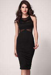 Černé midi šaty bez rukávů Penelope