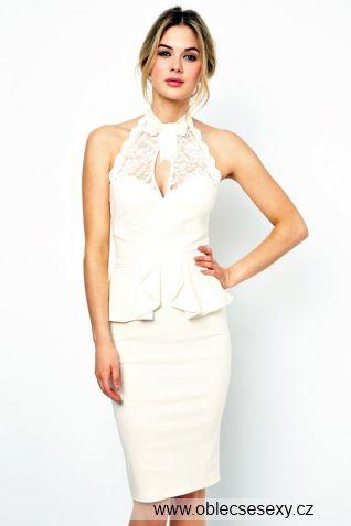 Levné peplum midi bílé šaty Sonia