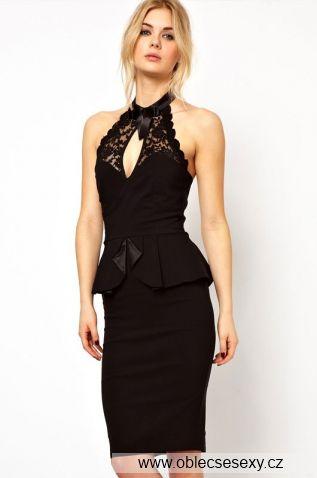 Levné peplum midi černé šaty Sonia