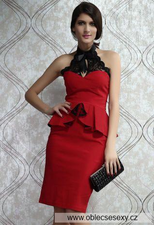 Levné peplum midi červené šaty Sonia