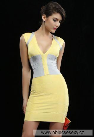 Žluté bandage šaty