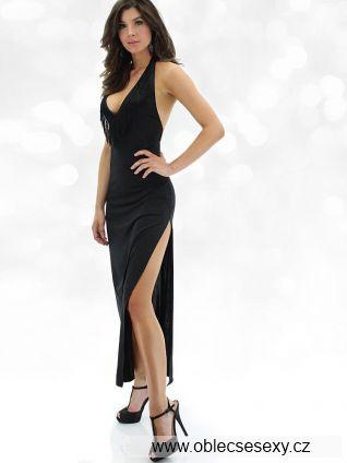 Černé dlouhé šaty s hlubokým výstřihem a rozparkem