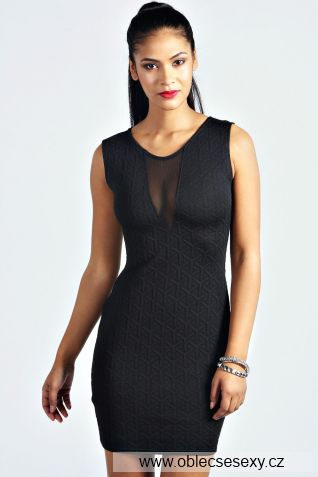 Levné černé přiléhavé mini šaty Klaudie