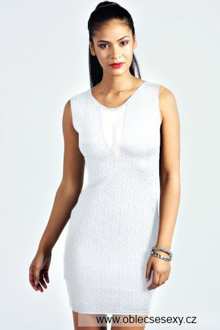 Levné bílé přiléhavé mini šaty Klaudie
