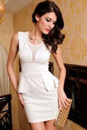 Levné bílé peplum šaty Janine