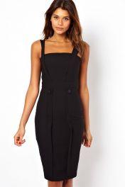 Černé midi šaty s ramínky bez rukávů Desirae