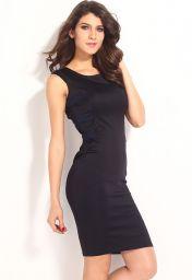 Černé midi levné šaty s překříženými zády