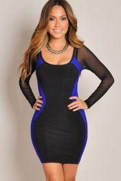 Černo modré přiléhavé krátké šaty Mona