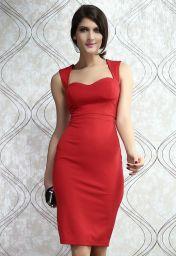 Společenské midi červené šaty