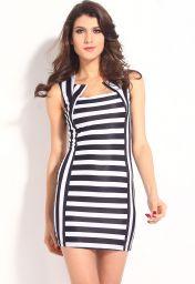 Moderní proužkované šaty bez rukávů dlouhé na stehna